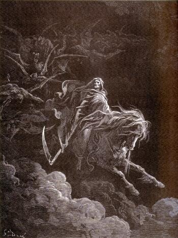 Le quatrième cavalier de l'Apocalypse, Mort, sur le cheval pâle - Gravure de Gustave Doré (1865)