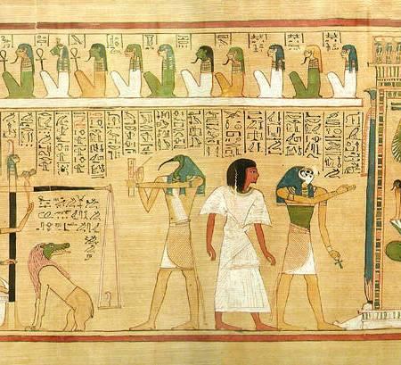 Scène issue du papyrus d'Hounefer montrant la pesée du cœur lors du jugement de l'âme.