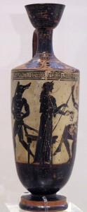 Circé offrant une coupe à Ulysse, v. 490-480 av. J.-C., Musée national archéologique d'Athènes.