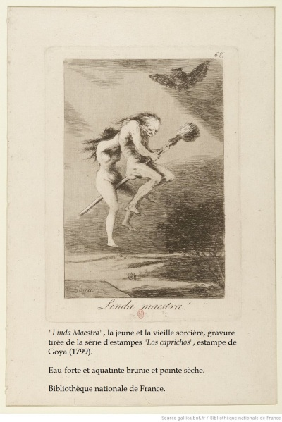 «Linda Maestra», la jeune et la vieille sorcière, gravure tirée de la série d'estampes «Los caprichos», estampe de Goya (1799). Eau-forte et aquatinte brunie et pointe sèche. Bibliothèque nationale de France.