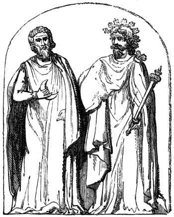 Deux druides, d'après une illustration de Antiquitas explanatione et schematibus illustrata (Bernard de Montfaucon, 1719).