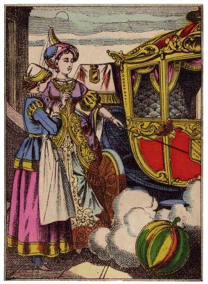Image d'Épinal de la fée marraine de Cendrillon changeant une citrouille en carrosse grâce à sa baguette.