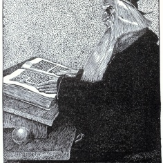 Merlin l'Enchanteur vu par Howard Pyle, dans l'édition 1903 de The Story of King Arthur and His Knights.