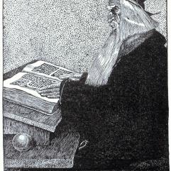 Merlin l'Enchanteur vu par Howard Pyle, dans l'édition 1903 de The Story of King Arthur and His Knights.