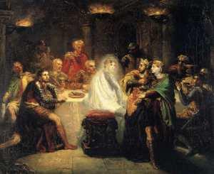 Le spectre de Banquo s'invite à dîner dans Macbeth de Shakespeare (acte III scène 4). Image d'illustration wikimédia